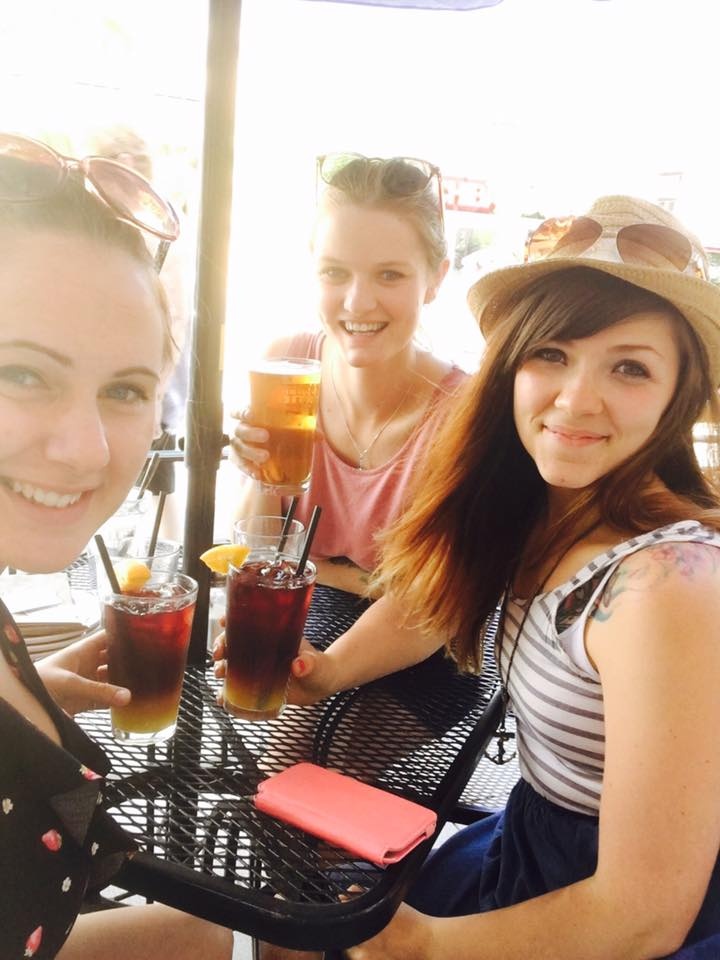 Jasmine, Sonia and I drinking while they were on holiday in Kelowna